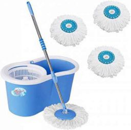 Shivonic Magic Dry Bucket Mop - 360 Degree Self Spin Wringing With 3 Super Absorbers for Home & Office Floor Mop Set  (Multicolor)