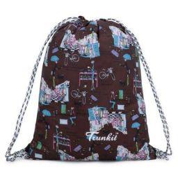 Trunkit Polyester Printed Drawstring 10 L - Tuition Bag, Carry Bag, Gym Bag, Daytrip (Brown Blue)