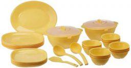 Signoraware Plastic Dinnerware Set, 31-Pieces, Yellow