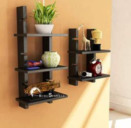 Home Sparkle Ladder Shelf Engineered Wood (Black)