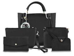 Fargo PU Leather Latest Handbags For Women's Ladies Combo Of 5 (Black_Ring5_FGO-254)