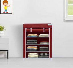 FLIPZON Collapsible Wardrobe Organizer, Multipurpose Storage Rack, 4 Layer Fabric Shelves (Iron and Fabric)(Maroon)