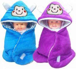 BRANDONN Animal Single Hooded Baby Blanket (Polyester, FALSA, Blue)