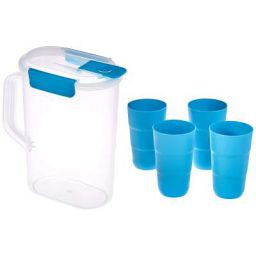 Amazon Brand - Solimo Plastic Tumbler Set- 2.1 Liters, 5 pieces, Blue