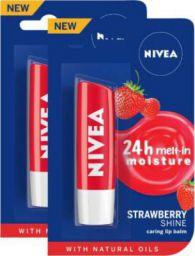 NIVEA Strawberry Fruity Shine Lip Balm Strawberry  (Pack of: 2, 9.6 g)