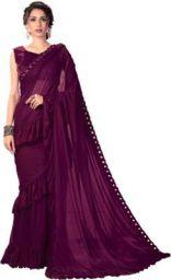 Sariya Solid Fashion Lycra Blend Saree  (Purple)
