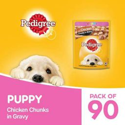 Pedigree Puppy Wet Dog Food, Chicken Chunks in Gravy, 70 g (Pack of 90)
