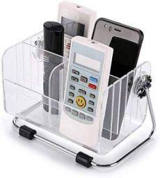FreshDcart TV-AC Remote Organiser Stand Holder with Plastic Desk Organizer/ 6-Slot Shelf