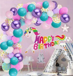 Party Propz Unicorn Theme Birthday Decorations Items Combo Kit- 56Pcs