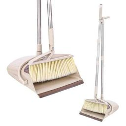 Tormeti Dustpan Brush with Long Handle Telescopic Upright, Dustpan and Brush 36.9 inches 47.1 inches Handle