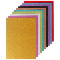 OFIXO Top Grade Glitter Craft Paper Cardstock Paper (A4 Mixed Colors, 250 GSM Pack 10 Sheets)