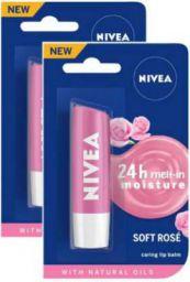 NIVEA Soft Rose Lip Care Balm Rose  (Pack of: 2, 9.6 g)