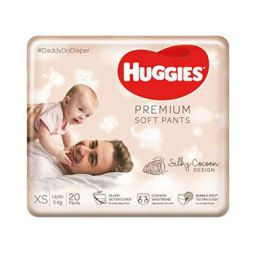 Huggies Premium Soft Pants, Extra Small / New Born (XS / NB) size newborn baby diaper pants, 20 count