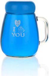 SATYAM KRAFT Transparent Glass Printed Mug with Lid - 1 Piece, Blue, 350 ml