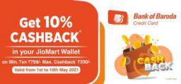 Jiomart Bank Of Baroda Credit card Offer: 10% Cashback in Jiomart Wallet
