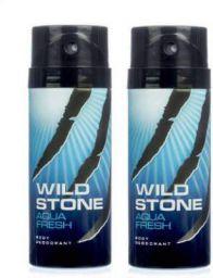 Wild Stone Aqua Fresh Deodorant Spray - For Men  (300 ml, Pack of 2)