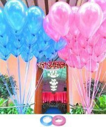 AMFIN Metallic Birthday Balloons, 10-inch (Light Blue & Pink) - Pack of 50