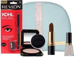 Revlon Must Have Beauty Combo With Makeup Storage Pouch (Sl Seductive Sienna + Kohl Kajal + T&G Compact + Matt Top Coat Nail Enamel), 125.34 g