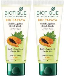 Biotique Bio Papaya Visibly Ageless Face Wash, Pack of 2, 200 ml (2 x 100 ml)