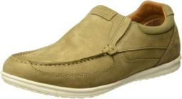 Woodland Men's Khaki Genuine Leather Loafers