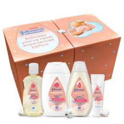 Johnson's Baby Cotton Touch Trial Baby Care Gift Set – Baby Bath 100ml, Baby Lotion 100ml, Baby Massage Oil 100ml with Free Baby Cream 50g