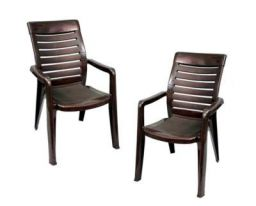 Nilkamal 2180 Plastic Chair (Brown Set of 2)
