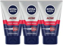 NIVEA MEN MEN Acne 100ml (Pack of 3) Face Wash (300 ml)