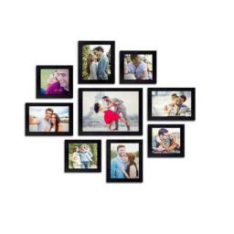 AG Crafts™ Wall Wood Photo Frames (Black, 9 Photos) 1/2