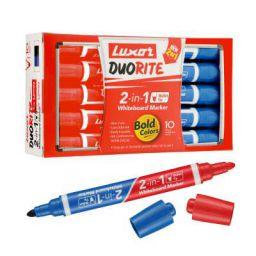 Luxor Duorite 2-in-1 Bullet Tip Whiteboard Marker - Bllue & Red - Pack of 10