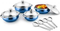 Jensons Blue 4 Handi with lid + 4 Serving Spoon Bowl Spoon Serving Set