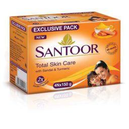 Santoor Sandal & Turmeric Soap for Total Skin Care, 150g (Pack of 4)