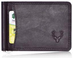 Allen Solly Men's Money Clip Leather Bi-Fold Slim Wallet with Card Holders