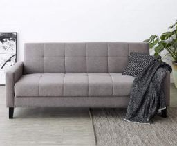Amazon Brand - Solimo Halley Fabric 3 Seater Sofa cum Bed with Storage (Grey)
