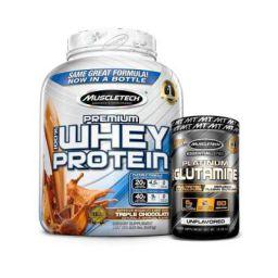 Muscletech Premium 100% Whey Protein Plus - 2.27 kg (Triple Chocolate) + Glutamine Essential Series- 302g Combo