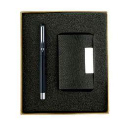 (Renewed) Parker Vector Chrome Trim Black Roller Ball Pen with Free Card Holder (Black)
