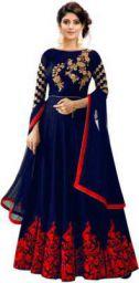 WEAR & SHINE Women Gown Dark Blue Red Gold Dress