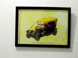 Tu Casa Burnout Effect Wall Hanging Vintage Car Poster (Paper, 29.2 cm x 0.63 cm x 22.22 cm, Dark Brown, TUD-2352)