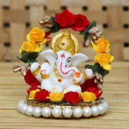 eCraftIndia Lord Ganesha Idol on Decorative Handcrafted Plate
