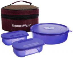 Signoraware Classic Plastic Lunch Box 3N containers Set with Bag(800ml+2N 140ml)