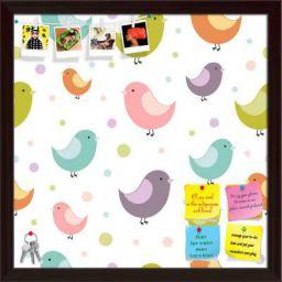 ArtzFolio Colorful Birds Printed Bulletin Board Notice Pin Board Soft Board | Dark Brown Frame 16 X 16Inch