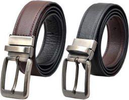 Provogue Men Formal Black Texas Leatherite Reversible Belt