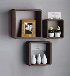 Woodkartindia Wooden Square Floating Cube Wall Shelf Storage Wall Shelves Shelf Cube (Standard, Brown)