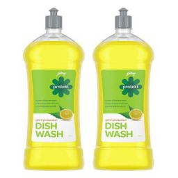 Godrej Protekt Germ Protection Dish Wash Liquid Gel Fragrance: Lime Pack of 2 (750ml each)