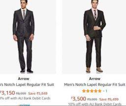 Arrow Men's Suit Upto 72% Off