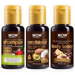 SAMPLER: WOW Skin Science Apple Cider Vinegar Shampoo + Hair Conditioner + Shea & Cocoa Butter Body Lotion - Net Vol - 90 ml