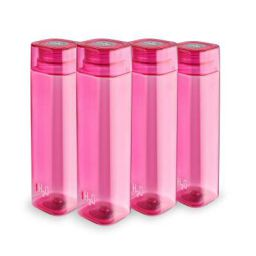 Cello H2O Squaremate Plastic Water Bottle, 1-Liter, Set of 4