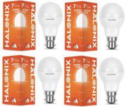 Halonix 7 W Round B22 LED Bulb (White Pack of 4)