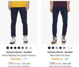 Amazon Brand - Symbol Mens Jeans Upto 83% Off