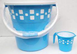 Milton Mozaic Plastic Bucket and Mug (25 L, Blue)