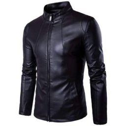 LH Pure Genuine Leather Jacket for Men's (L, BLACK)